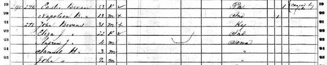 1860 Census for Ester Bevans Liberty, Marion, Iowa