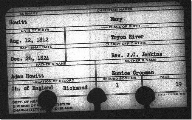Mary Howitt baptism record 26 Dec. 1824