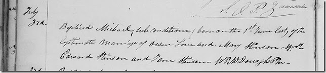 Michael Love baptism at St Paul Church  3 July 1842 York County, Ontario
