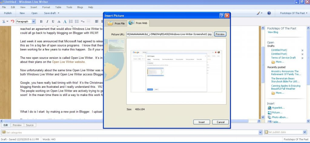 Windows Live Writer Image Insert | Footsteps of the Past